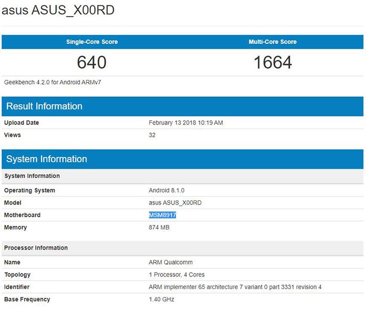 Asus X00RD, характеристики и производительность в Geekbench