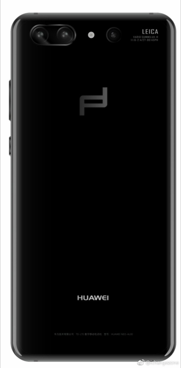 Смартфону Huawei P20 Porsche Design приписывают подэкранный дактилоскопический датчик и горизонтальную тройную камеру