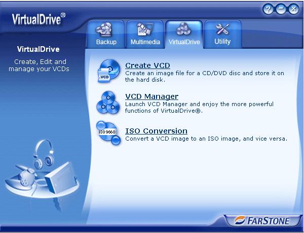 Рабочее окно VirtualDrive Manager