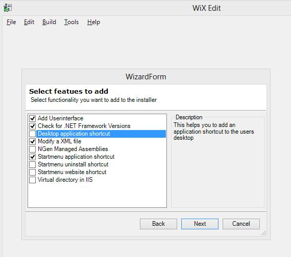 Определение функциональности в WiX Edit