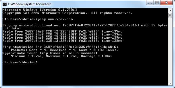 Сайт www.xbox.com отзывается и по IPv4, и по IPv6