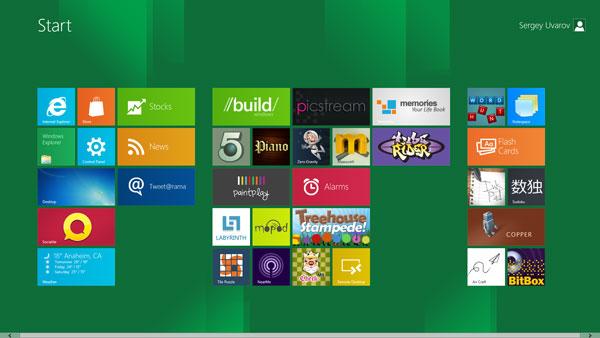 Главный экран Windows 8