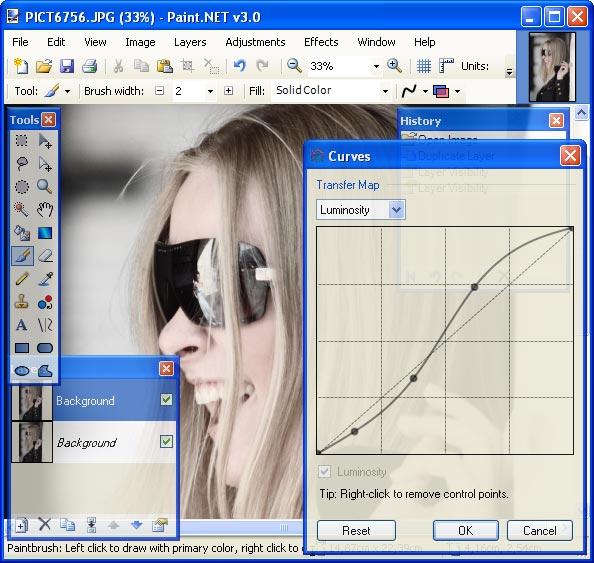 Управление экспозицией с помощью кривых в Paint.NET