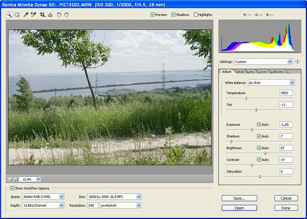 Рабочее окно Adobe Camera RAW