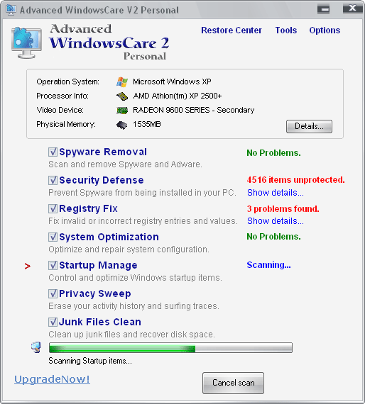 Advanced WindowsCare Personal.