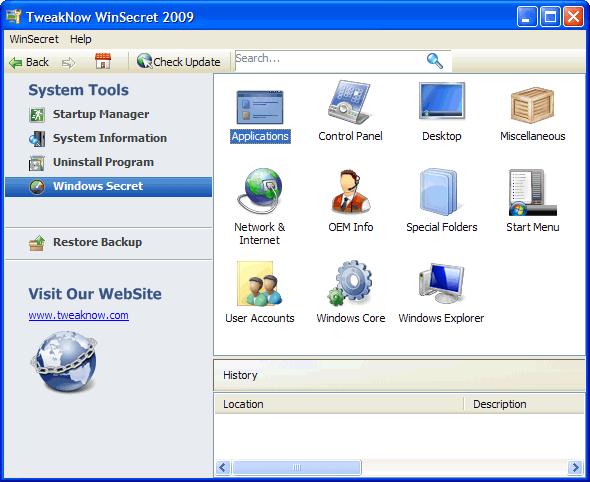 Рабочее окно WinSecret