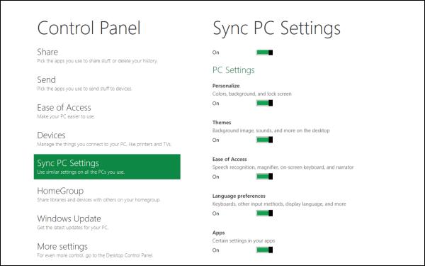 Metro-вариант Панели управления и настройки синхронизации через Windows Live