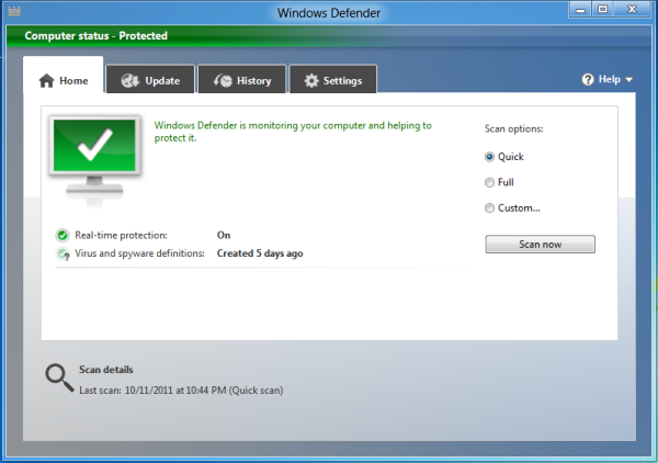 Встроенный в Windows 8 антивирус Windows Defender