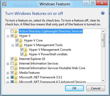 Для использования Hyper-V его вначале нужно включить в списке опциональных компонентов Windows 8