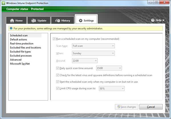 Антивирус Intune Endpoint Protection как две капли воды похож на Windows Security Essentials