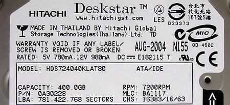 Hitachi Deskstar 7K400 And 7K250 HDD