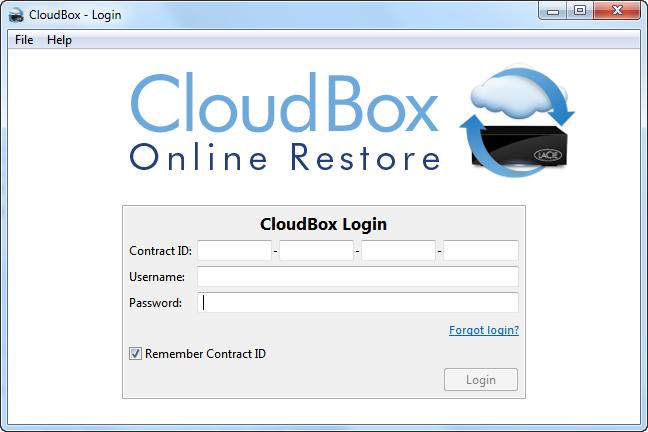 По крайней мере на собственном компьютере номер контракта в CloudBox Online Restore можно ввести один раз и запомнить на будущее