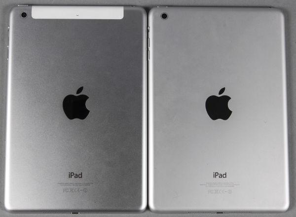 Задняя сторона iPad mini сдисплеем Retina иiPad mini первого поколения