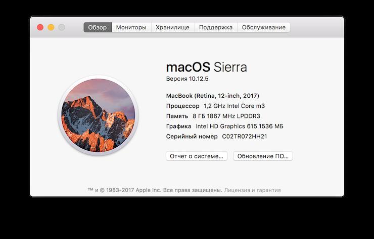Скриншот с 12-дюймового ноутбука Apple MacBook