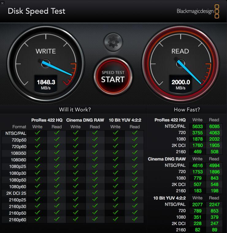 Скриншот программы BlackMagic Disk Speed